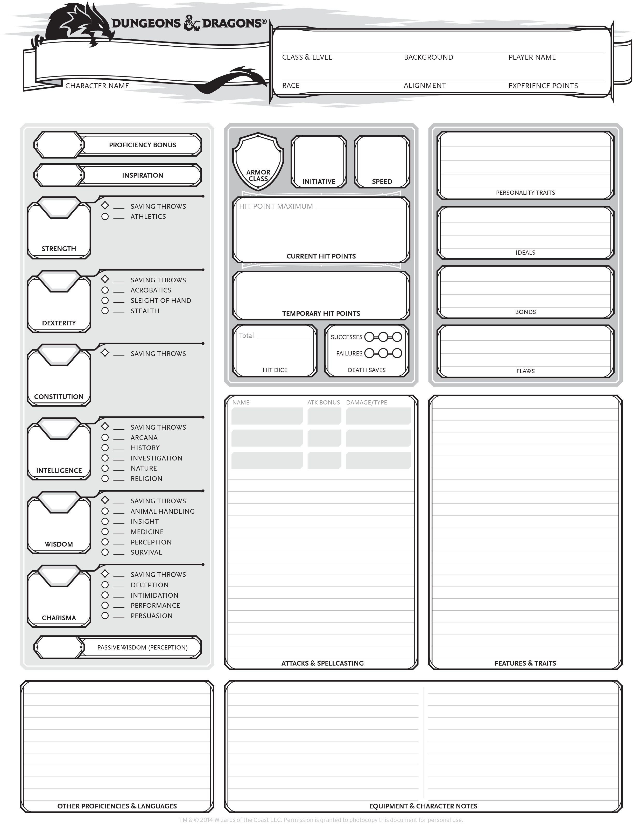 image relating to 5e Character Sheet Printable known as Coming up with a Very simple Personality inside of Dungeons and Dragons, 5th Model
