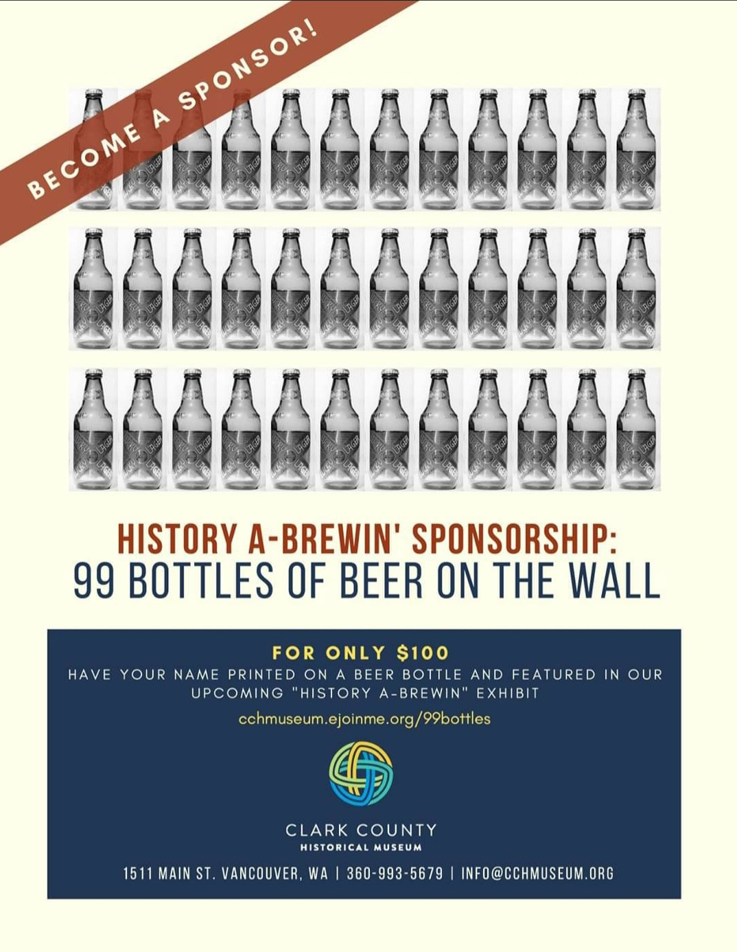 History on Tap Sponsorship digital poster, three rows of bottled beer with blue box and text at bottom