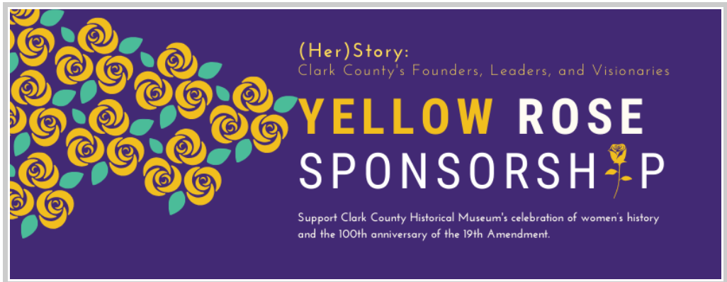 Yellow Rose Sponsorship digital banner, purple background with yellow roses on left