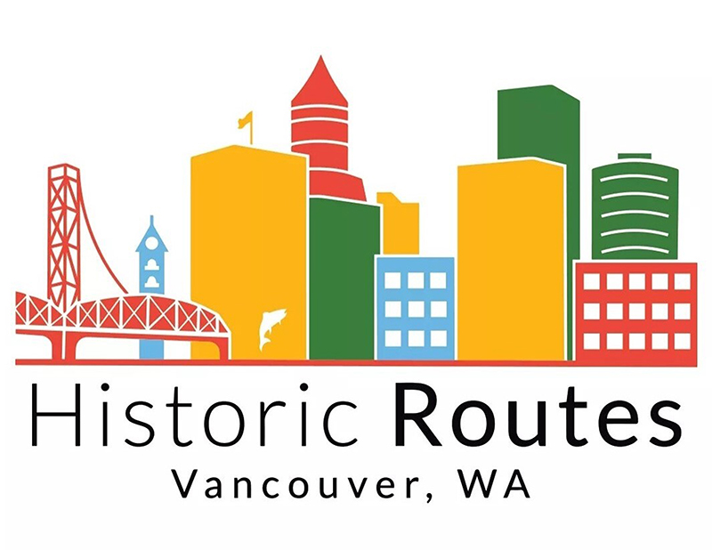 "Digital logo, with green, red, yellow, and blue skyline of Downtown Vancouver. Black text ""Historical Routes"" below."