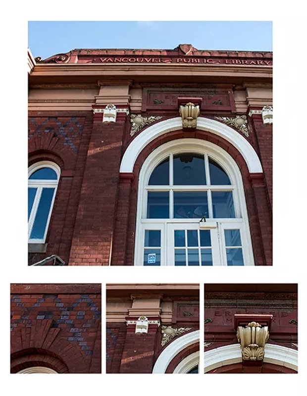 Outside of Clark County Historical Museum brick building with large window, three smaller images below of brick detailing