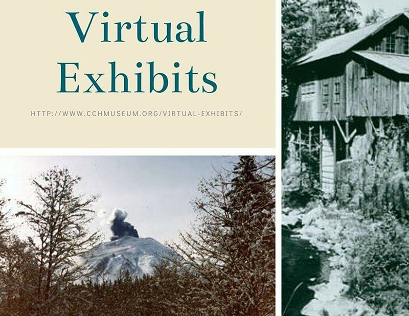 "Three panels, left text ""Virtual Exhibits"", left bottom of mountain through trees, right greyscale of water & wood building"