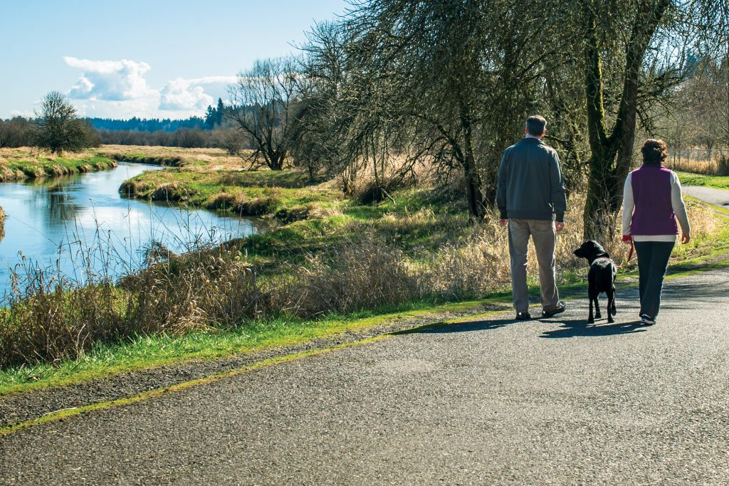 Salmon Creek Trail with dog